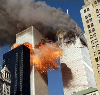 [World Trade center on fire 9-11]